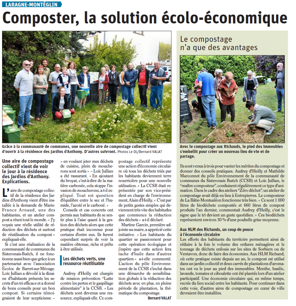 Article – Composter, la solution écolo-écologique – Le Dauphiné Mai 2019