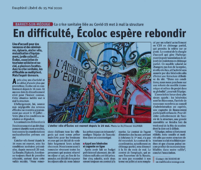 ARTICLE PRESSE ECOLOC CONFINEMENT